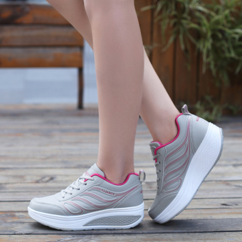Sports New style mesh breathable rocking shoes (Leather B886 gray rose)