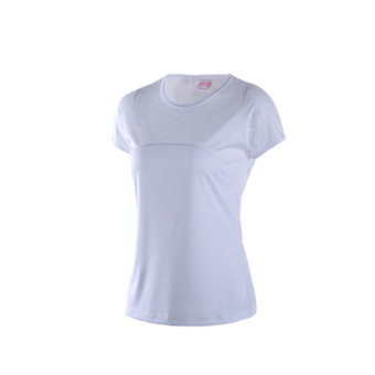 Sports outdoor Women's fitness running stretch Top quick drying clothes (White) (White)