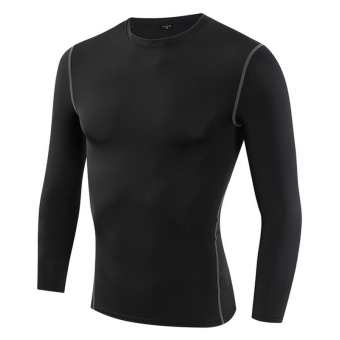 Sports quick-drying breathable male long-sleeved t-shirt slim fit clothing (Black) (Black)