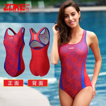 Sports retro female piece high collar swimming clothing swimsuit (Black/Rose _ 3)