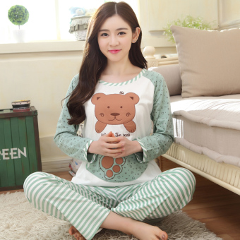 Spring and Autumn Bear striped girls long-sleeved pajamas