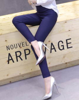 Spring and Autumn ultra-stretch high-waisted ankle-length pants (Dark blue color)