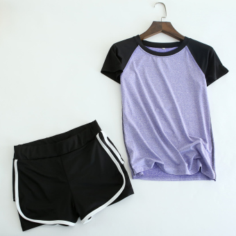 Spring and summer female High Elastic sports short-sleeved t-shirt