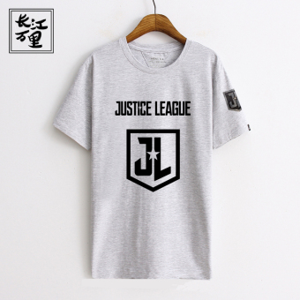 Star slub Cotton Short sleeved stretch men T-shirt (Gray Justice League)