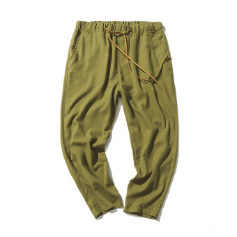 Harga Stylish guy's casual HarLan Teenager summer cropped pants cotton linen pants (Green)