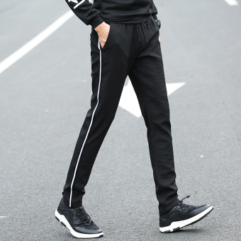 Stylish men elastic waist ankle-length pants athletic pants