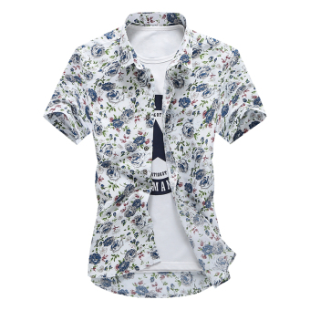 Suihua Korean-style men's spring and summer printed Short sleeve shirt short sleeved shirt (Blue and White (short sleeved))