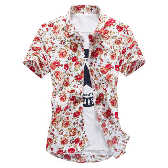 Suihua Korean-style men's spring and summer printed Short sleeve shirt short sleeved shirt (Red Flower (short sleeved))