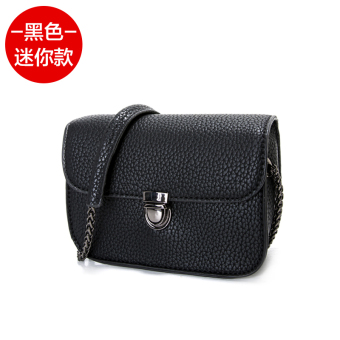 Summer chain bag handbag 2017 New style tide Korean-style wild messenger bag female mini bag fashion shoulder small square bag (Mini black)