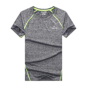 Summer New style outdoor short-sleeved quick-drying T-shirt men'ssports fitness clothing Short sleeve Slim fit quick-dryingcompassionate (Dark gray color)