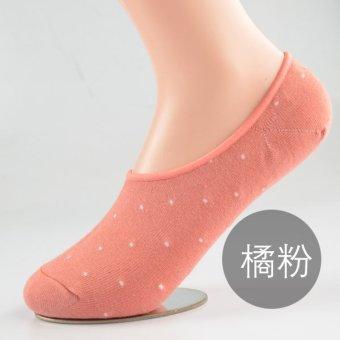 Summer non-slip cute Jacquard padded cotton summer invisible socks