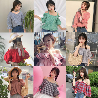 Summer women's fashion Korean-style small fresh word collar horn sleeve shirt off-the-shoulder plaid striped shirt Top tide (812 red) - 2