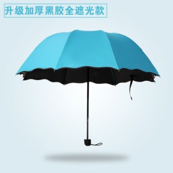 Super UV female three fold dual rain or shine umbrella SUN umbrella (In case of water flowering Thick vinyl blue)