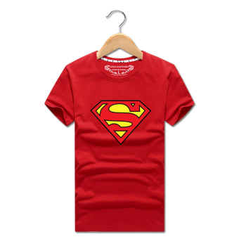Superman T-shirt Short sleeve clothes summer men's short-sleeved t-shirt round neck loose men's bottoming shirt casual student class service (Red)