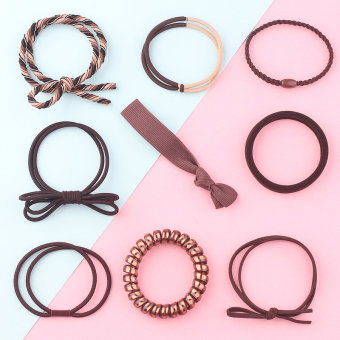 Sweet hair band rubber band tousheng (Coffee color)