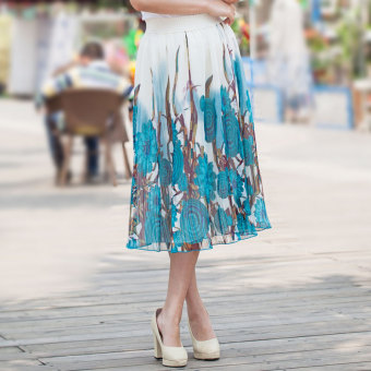 Sweet printed chiffon slimming skirt half-length skirt