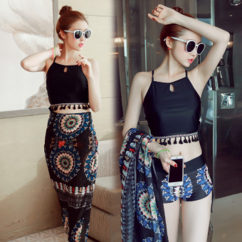 Swimsuit female fashion Skirt Style split three-piece boxer pantssmall chest gather cover the belly was thin veil swimsuit (Black +blue scarf)