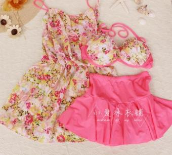 Swimsuit female three-piece bikini blouse small chest gather sexyfashion boxer Slimming effect cover the belly skirt type swimsuit(Pink)