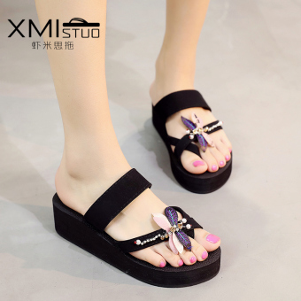 Thick bottomed flat heel Small slippers casual sandals (Women's + 7327 W semi-high heeled DRAGONFLY sandals)