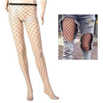 Thigh High Stockings Fishnet Hollowed Black Stretchy LeggingsSocks#1 - intl - 4