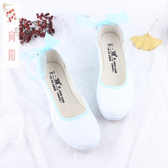 To Yang original DOUKOU new hand-painted antique Chinese clothing with shoes DIY fresh literary increased canvas white shoes (Lace [blue])
