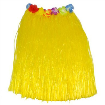 Tropical Hawaiian Hula Grass Skirt Flower Dancer Skirt Party Beach Dress 60cm Long - intl