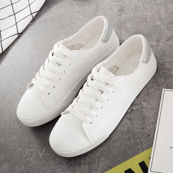 Ulzzang Korean-style leather female lace shoes BayMini shoes (White silver)