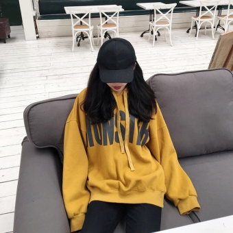 Ulzzang Plus velvet New style student hooded thick hoodie (Yellow (Plus velvet models))