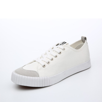 Ulzzang versatile female New style Shell shoes canvas shoes (White)