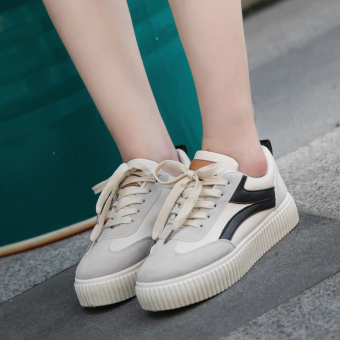 Ulzzang versatile female style canvas shoes BayMini shoes (Off-white-black)