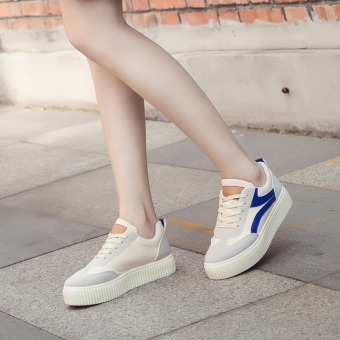 Ulzzang versatile female style canvas shoes BayMini shoes (Off-white-blue)