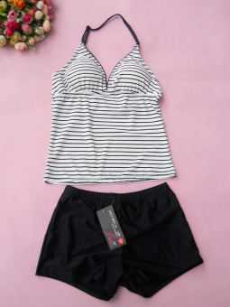 V1812 female boxer split swimsuit swimming clothes (Striped + black boxer pants)