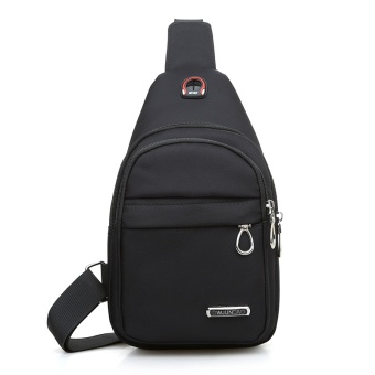 Versatile canvas cross-body I running bag chest pack (Black)