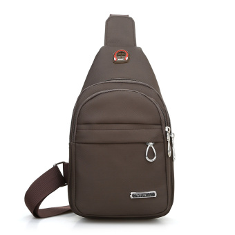 Versatile canvas cross-body I running bag chest pack (Brown)
