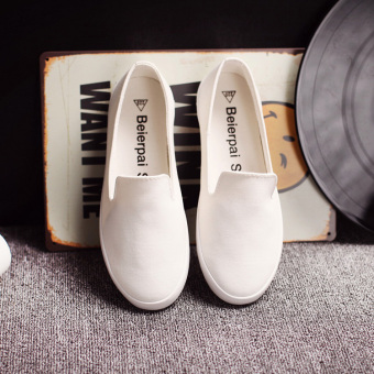 Versatile female loafers BayMini shoes (White)
