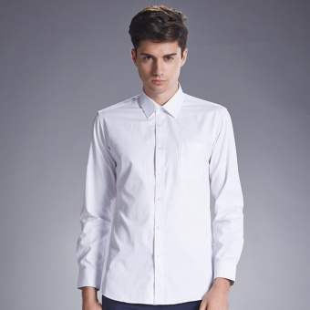 Harga Weargen New Fashion Dress Men Shirt Slim Fit Long Sleeve Male Social Casual Shirts Camisa Turn Down Collar Blouse 4XL 5XL SY-1887-White - intl