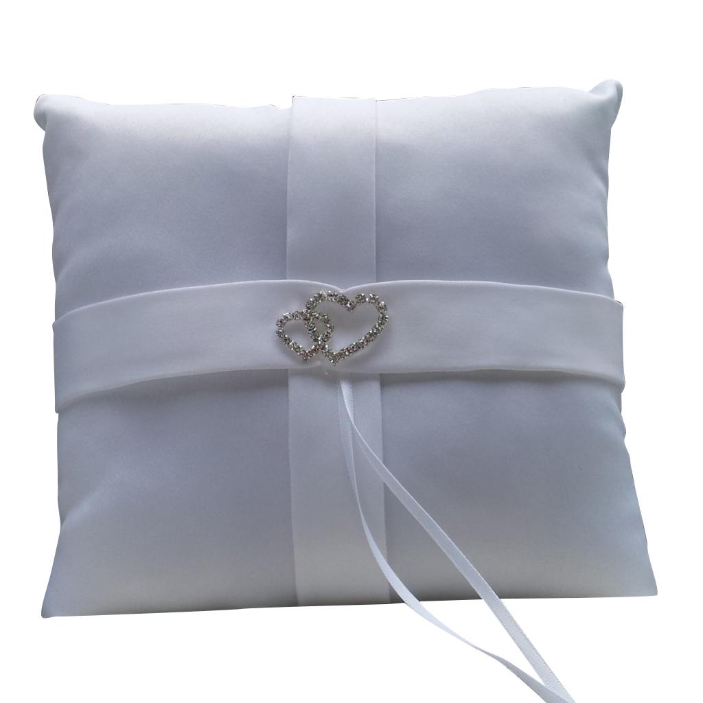 White Double Heart Diamante Ring Pillow Wedding Ring Bearer