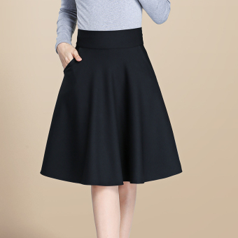 Wild high waisted Plus-sized pleated skirt half-length skirt (Black)