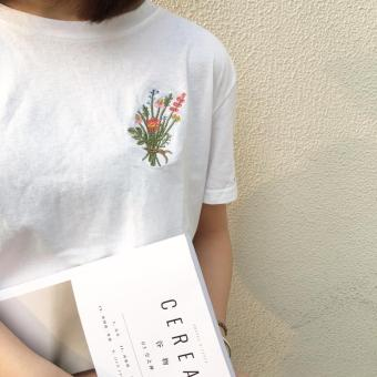 Wind Flower hedging embroidered short-sleeved spring T-shirt bottoming shirt (White) (White)