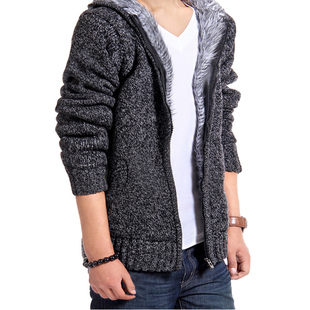 Winter coats men sweaters thick coat boy tops jacket sweater (Dark gray deep gray)