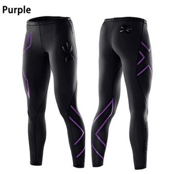 Women 2XU Professional Compression Speed Dry Fitness Pants Purple -intl