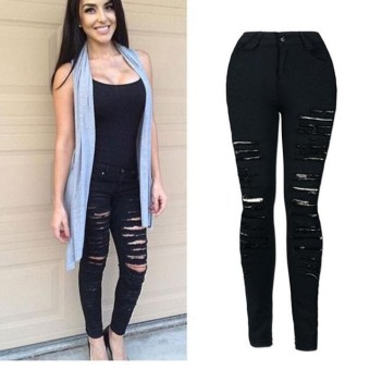 Women Denim Skinny Ripped Pant High Waist Stretch Jeans Slim Pencil Trousers - intl