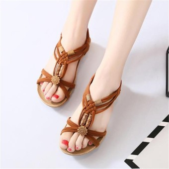 6d02c25159bf82 women fashion lady summer bohemia knitted wood beads flat sandals shoes  beach slippers sdl intl 8691