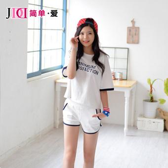 Women High waisted Plus-sized running beach pants sports shorts (White) (White)