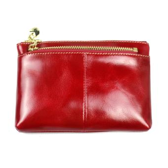 WOMEN LEATHER ZIP COIN PURSE MINI MONEY WALLET KEY POUCH RED VERAPELLE ITALY