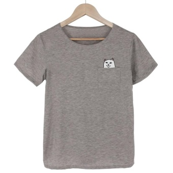 Women Short Sleeve Printed T-shirt(grey) - intl
