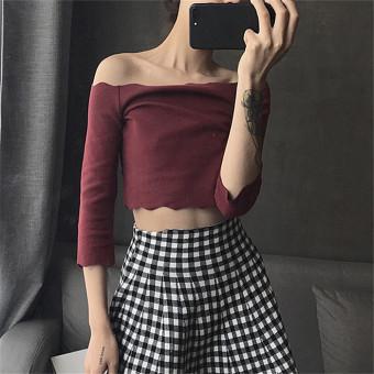 Women wave collar a word shoulder Student Summer loose long-sleeved t-shirt