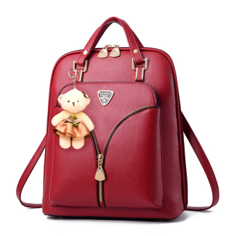 Women's Casual Travel Backpack (Wine red color)