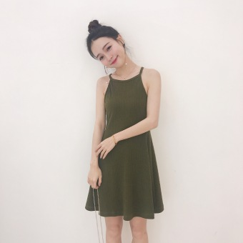 Women's Hong Kong Style Strapped Sleeveless Underskirt Dress (Army green)