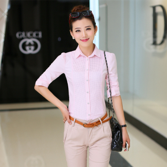 Women's Korean-style casual slim fit long-sleeve shirt